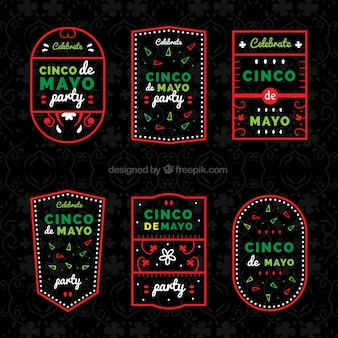 Great cinco de mayo labels with red frame
