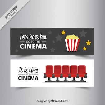 Great cinema banners with seats and popcorns