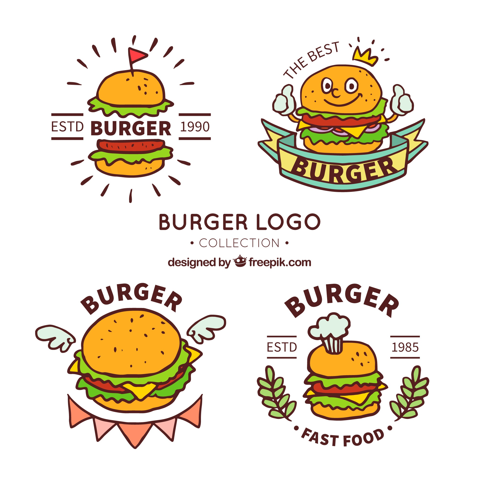 Great collection of burger logos in hand-drawn style