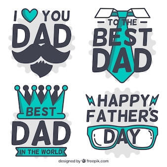 Great collection of father's day labels with green objects