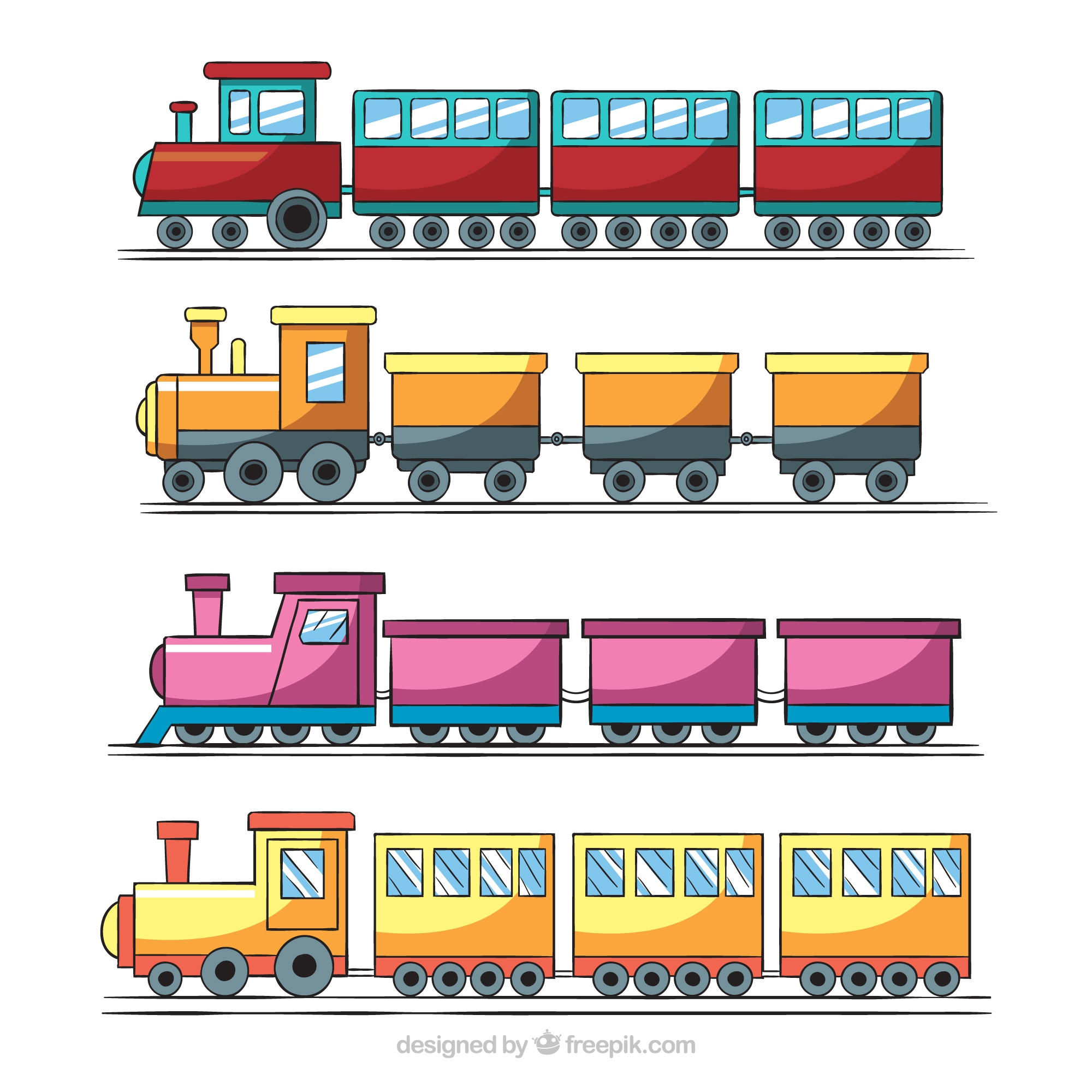 Great collection of four toy trains