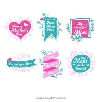 Great collection of green and pink labels for mother's day
