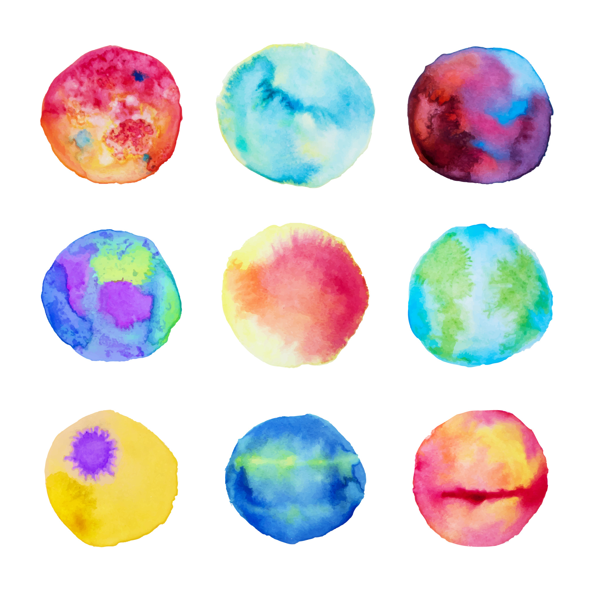 Great collection of nine abstract stains in watercolor style