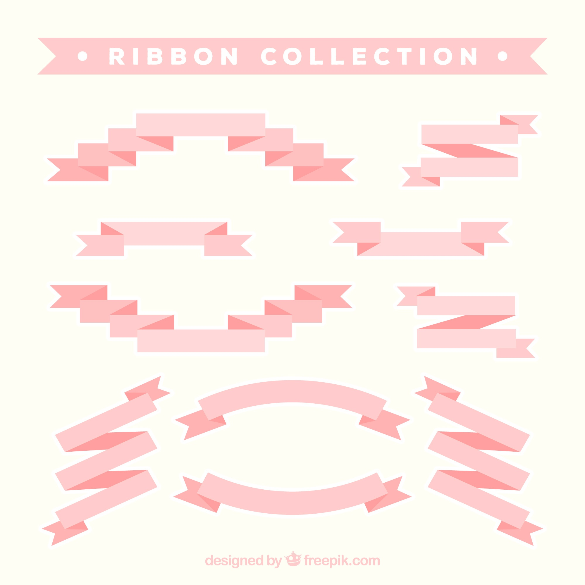 Great collection of pink ribbons in flat design