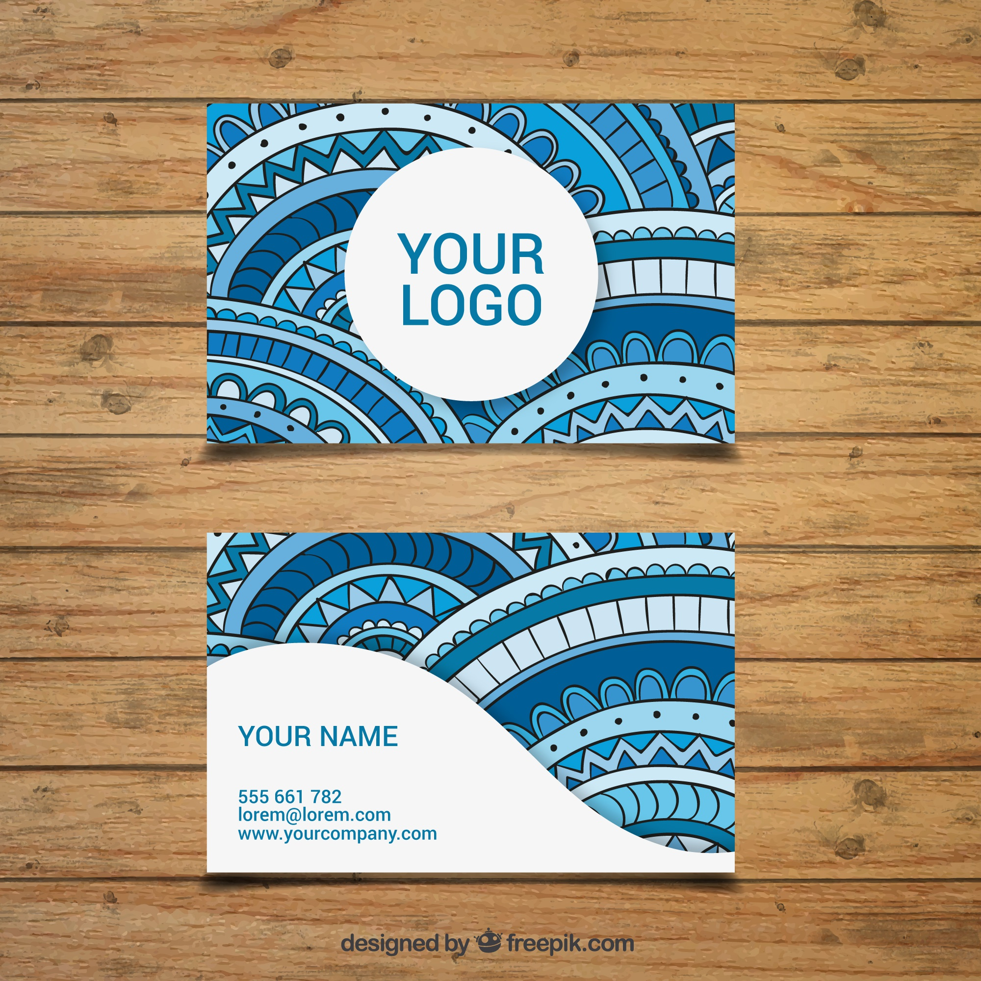 Great corporate card with decoration in blue tones