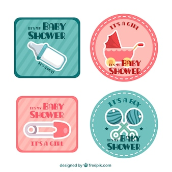 Great decorative labels with baby elements