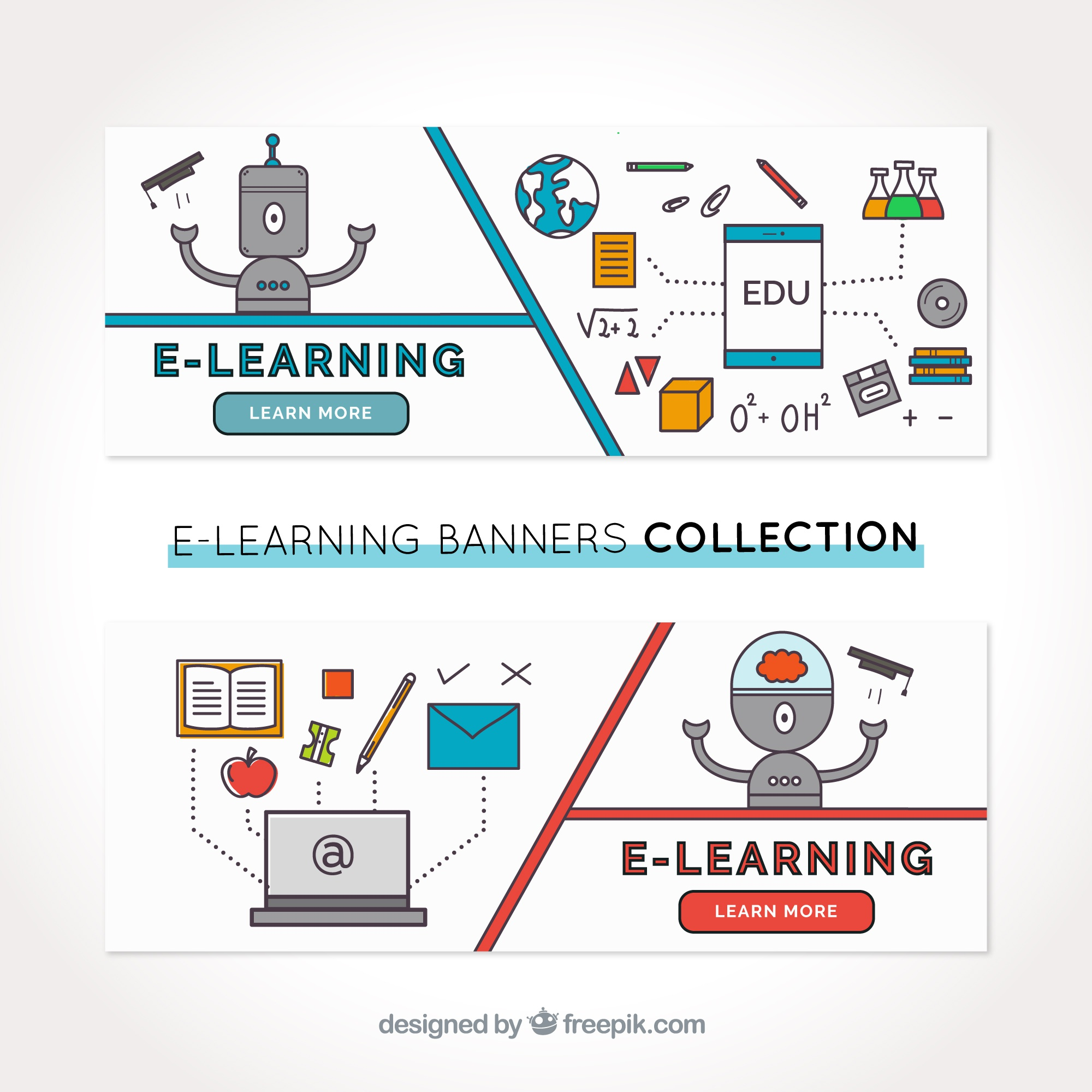 Great digital learning banners with robots