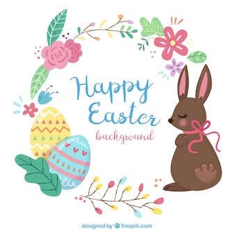 Great easter background with colored eggs and chocolate rabbit