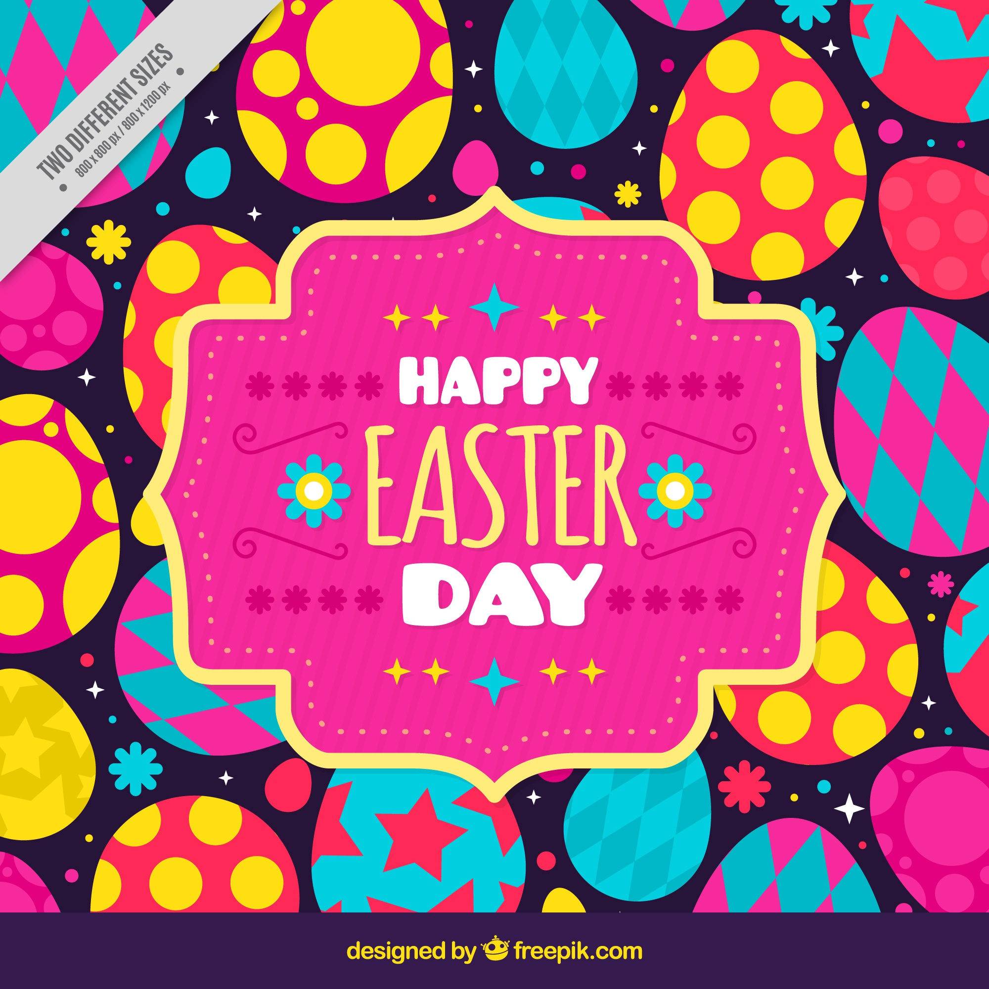 Great easter background with colorful eggs