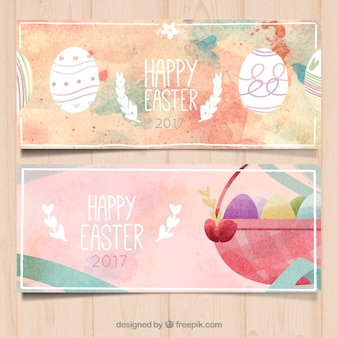 Great easter banners in watercolor style