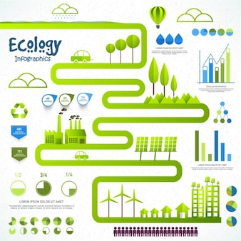Great ecology infographic with green road