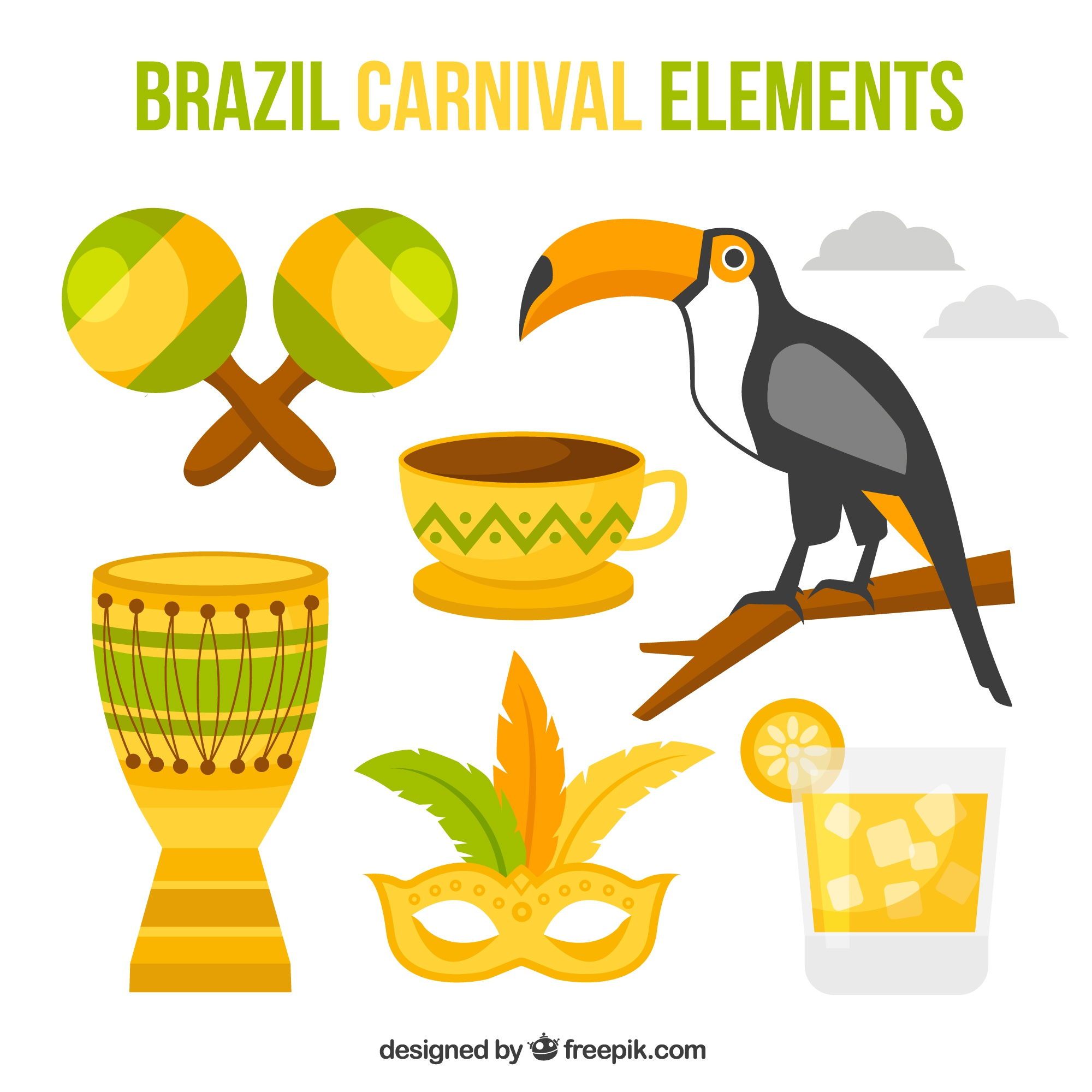 Great elements ready for brazilian carnival