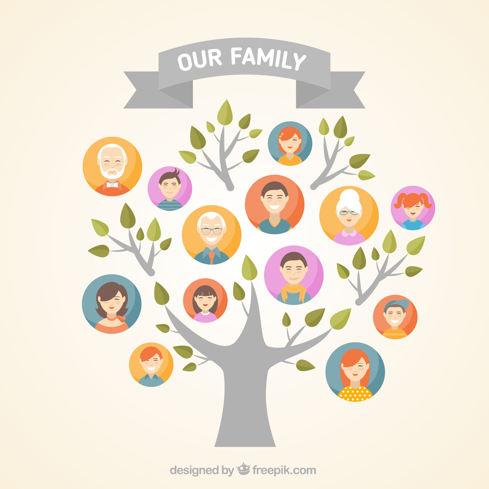 Great family tree in flat design