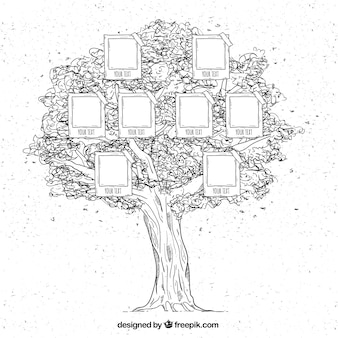 Great family tree in hand-drawn style