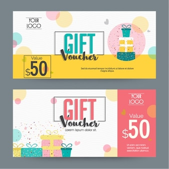 Great gift vouchers with presents and circles