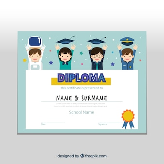 Great graduation certificate with smiling kids