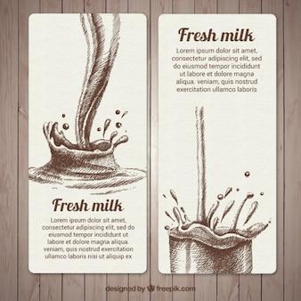 Great hand-drawn banners of fresh milk splash