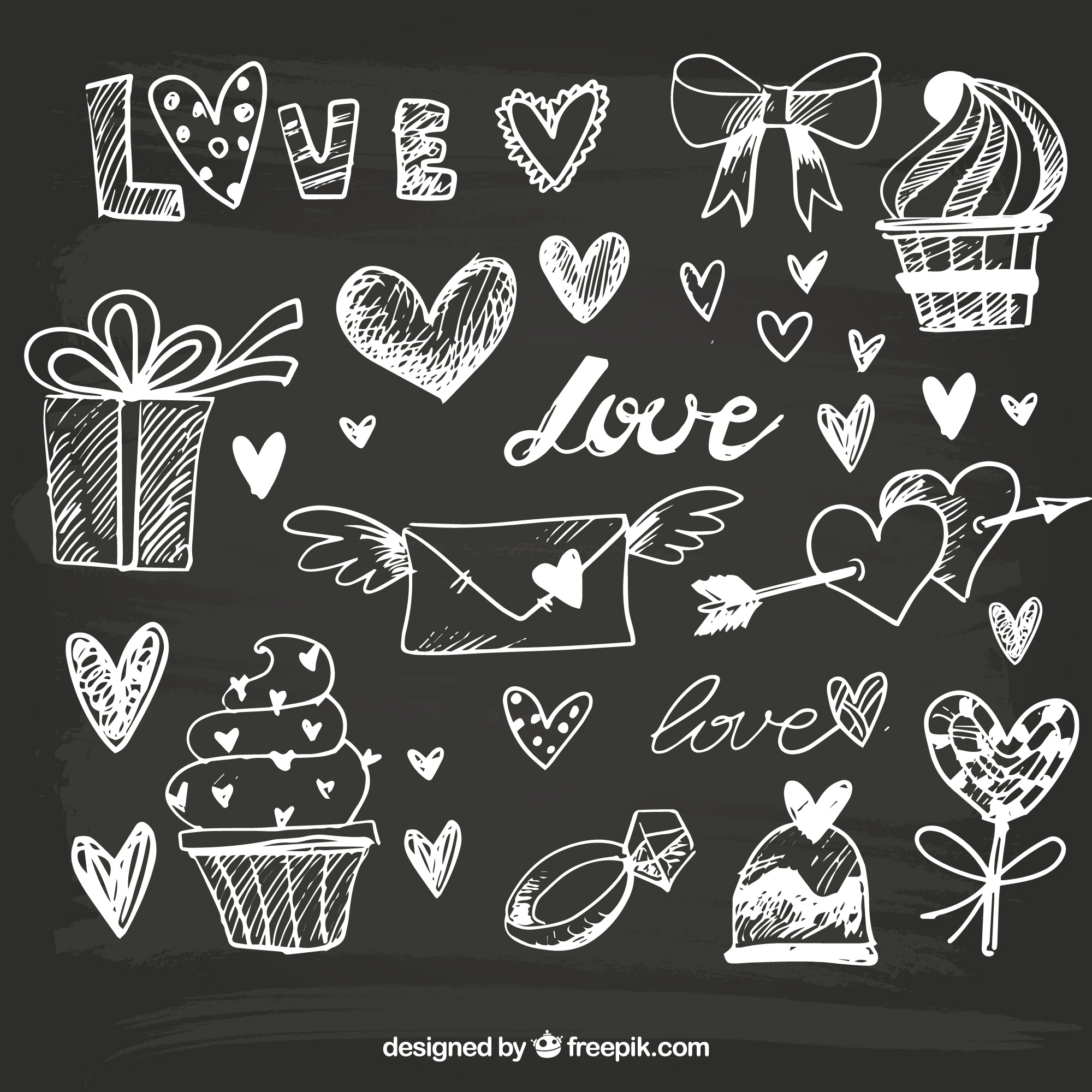Great hand-drawn objects for valentine's day