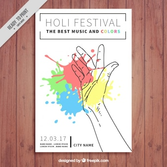 Great holi festival brochure with hand and stains