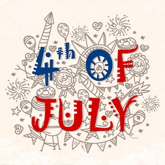 Great independence day background with hand-drawn elements