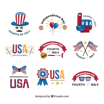 Great independence day stickers with decorative elements