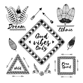 Great labels of feathers and arrows in boho style