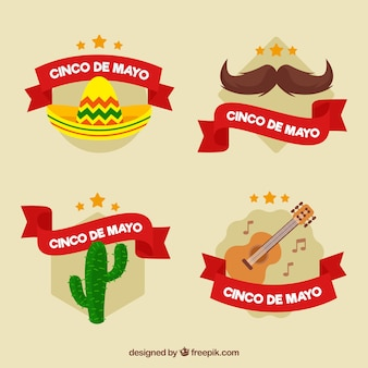 Great labels with red ribbons for cinco de mayo