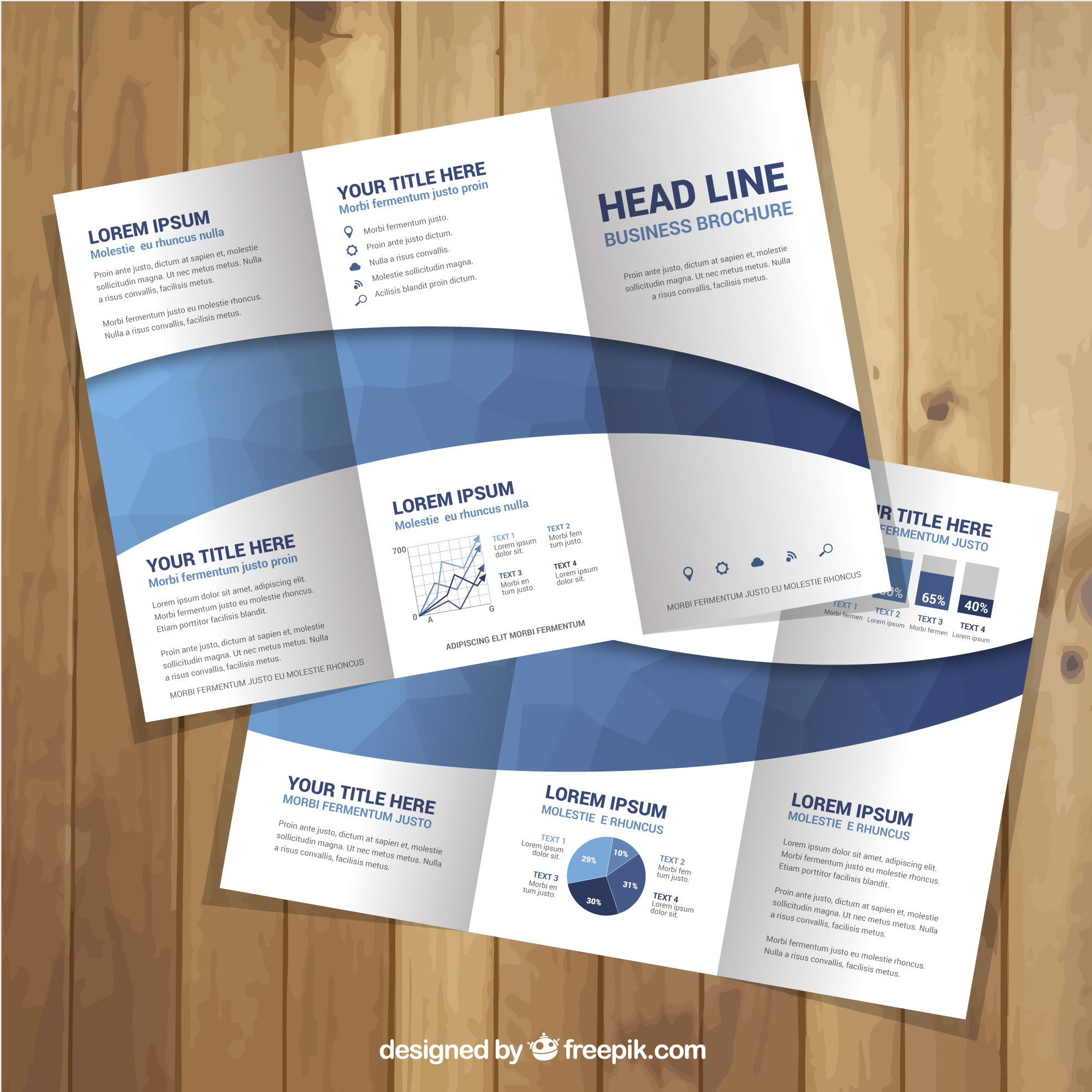 Great leaflet template with blue shapes