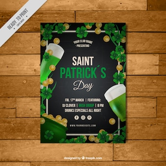 Great leaflet template with coins and beers for st patrick's day