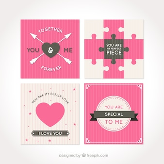 Great love cards with striped backgrounds