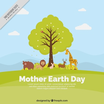 Great mother earth day background with tree and animals