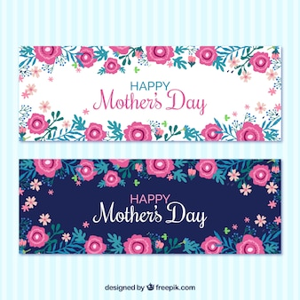 Great mother's day banners with pink flowers