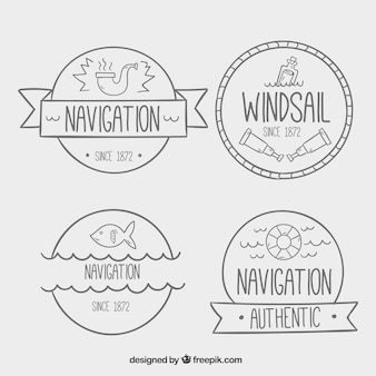 Great nautical badges with hand-drawn elements