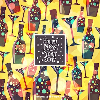 Great new year background with bottles and glasses