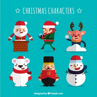 Great pack of characters for christmas in flat style