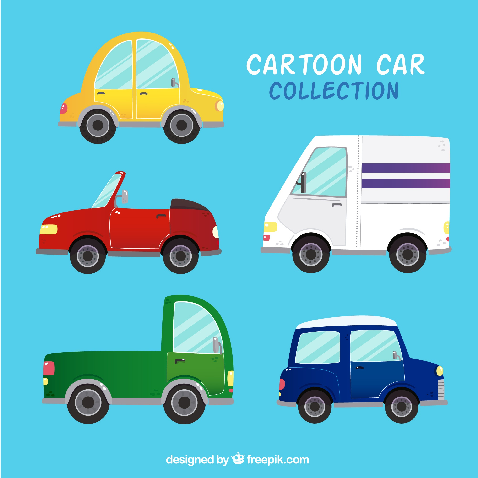 Great pack of colored cartoon vehicles
