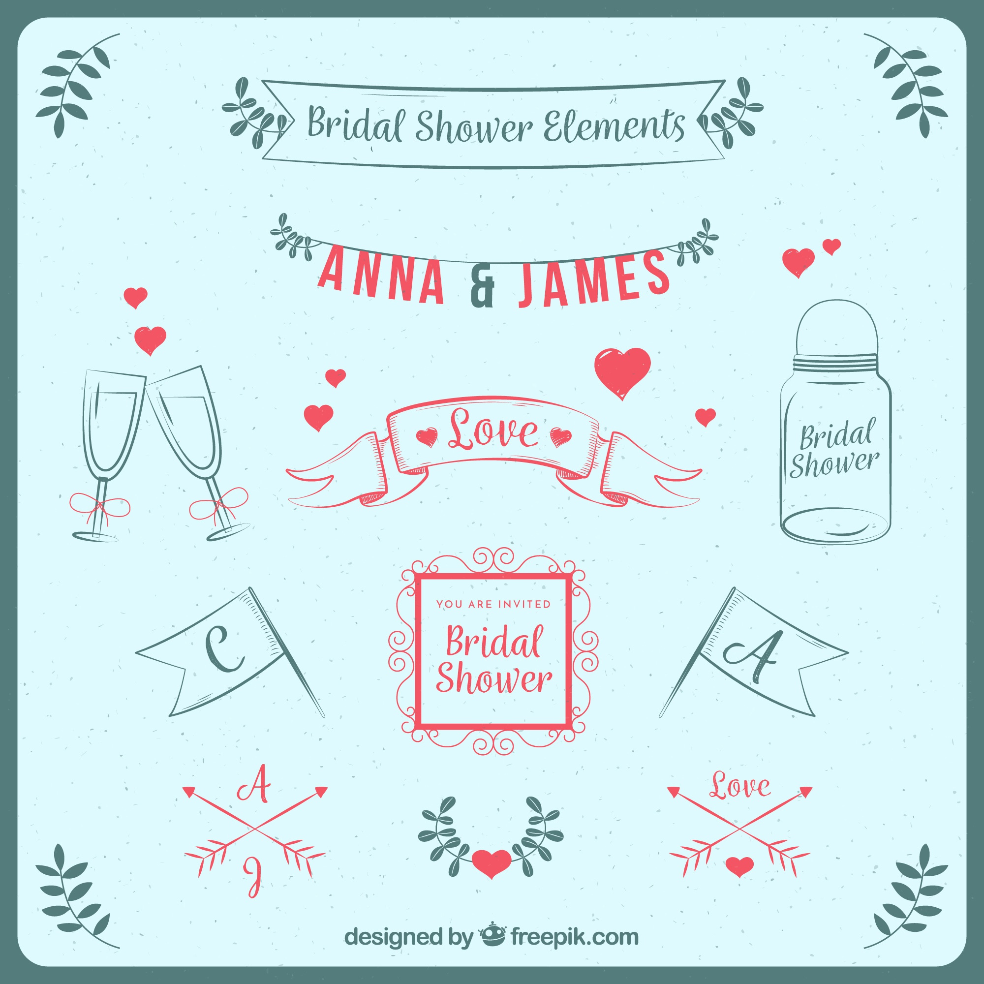 Great pack of decorative bridal shower elements in retro style