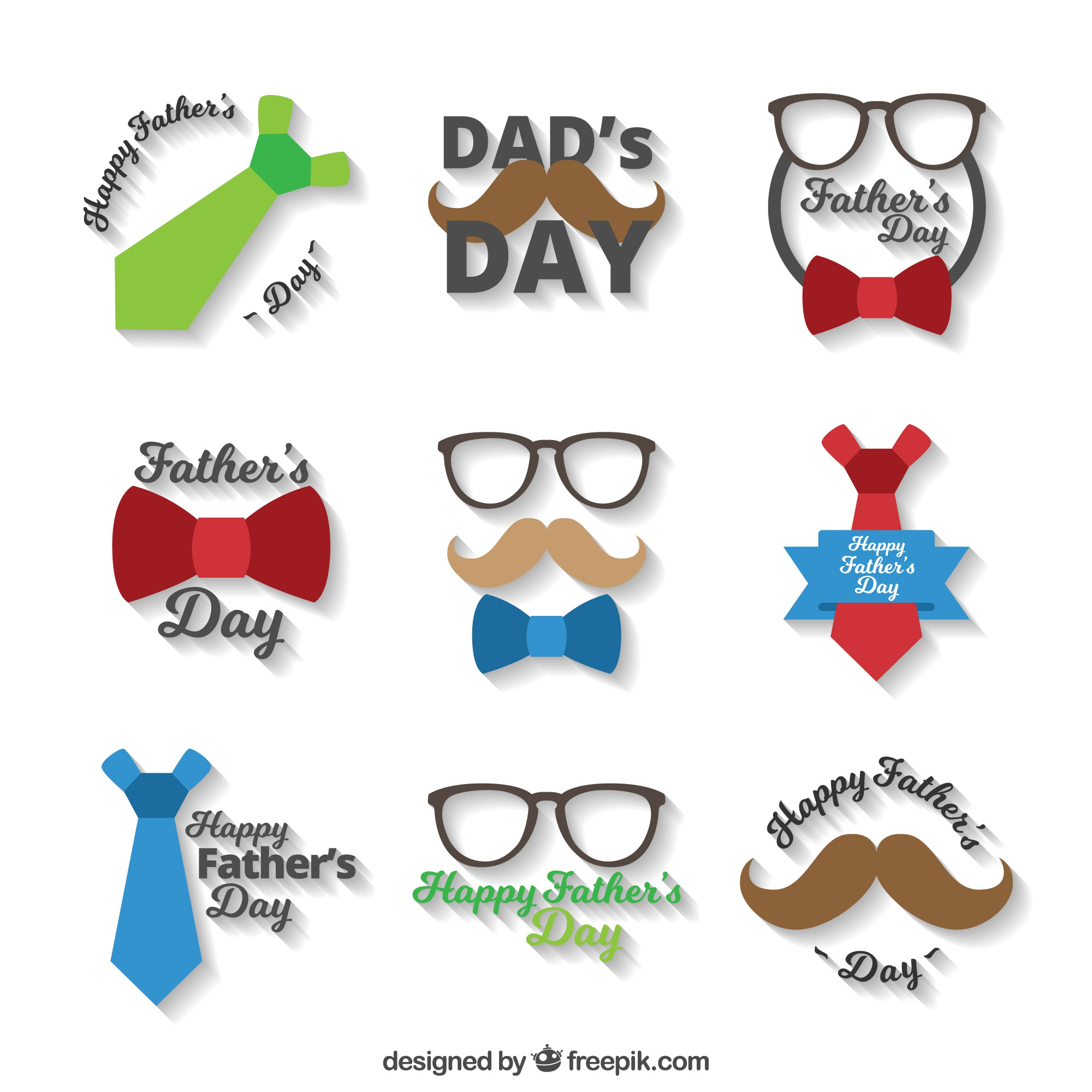 Great pack of flat stickers for father's day