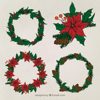Great pack of four christmas wreaths