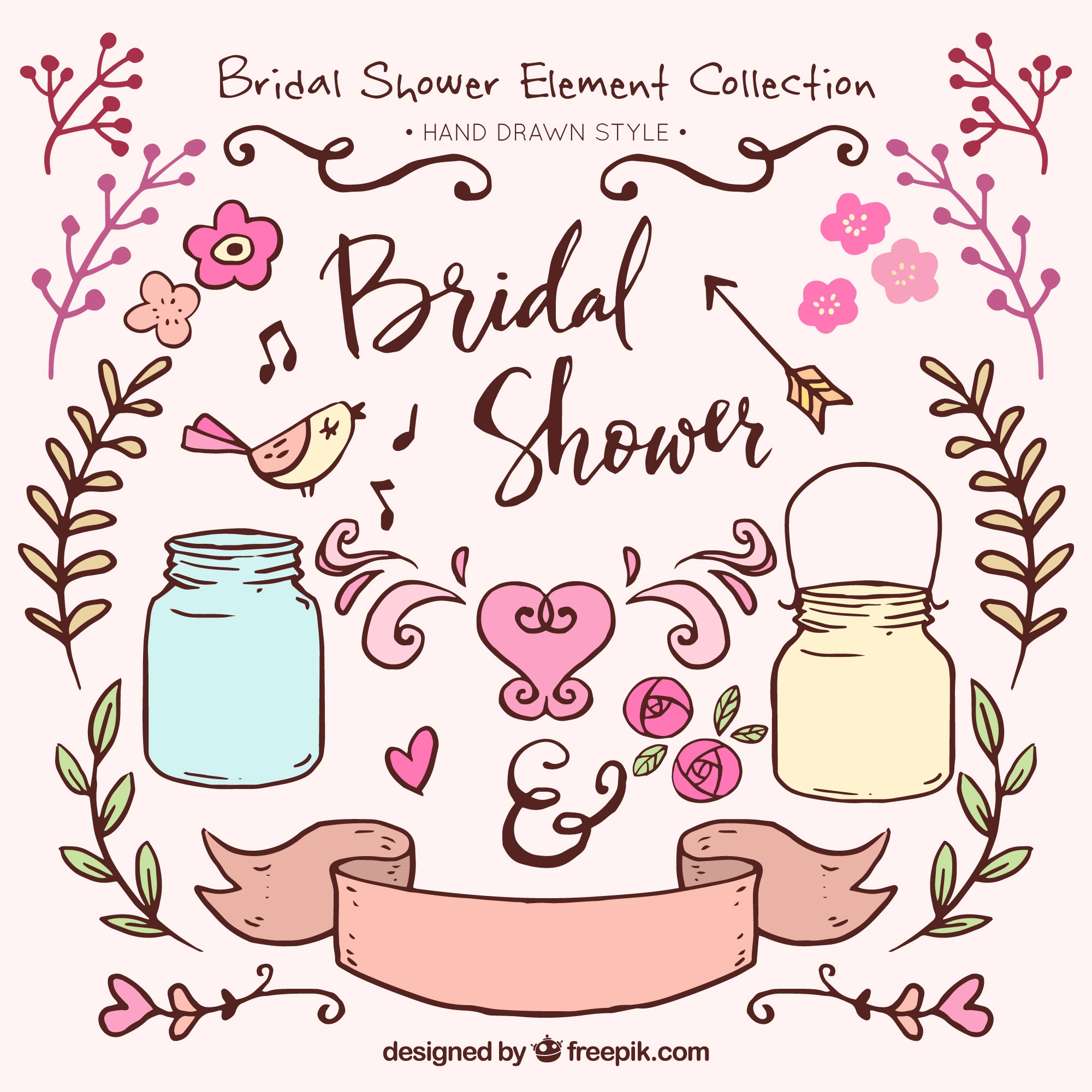 Great pack of hand-drawn bridal shower ornaments