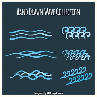 Great pack of hand-drawn waves in blue tones