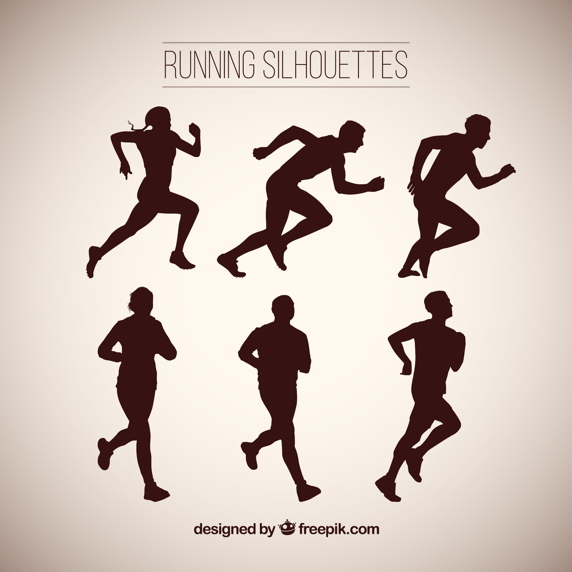 Great pack of silhouettes running