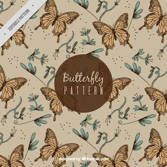Great pattern of butterflies and flowers in vintage style