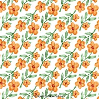 Great pattern of watercolor flowers in orange tones