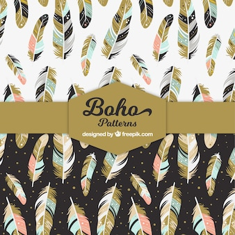 Great patterns with feathers in boho style