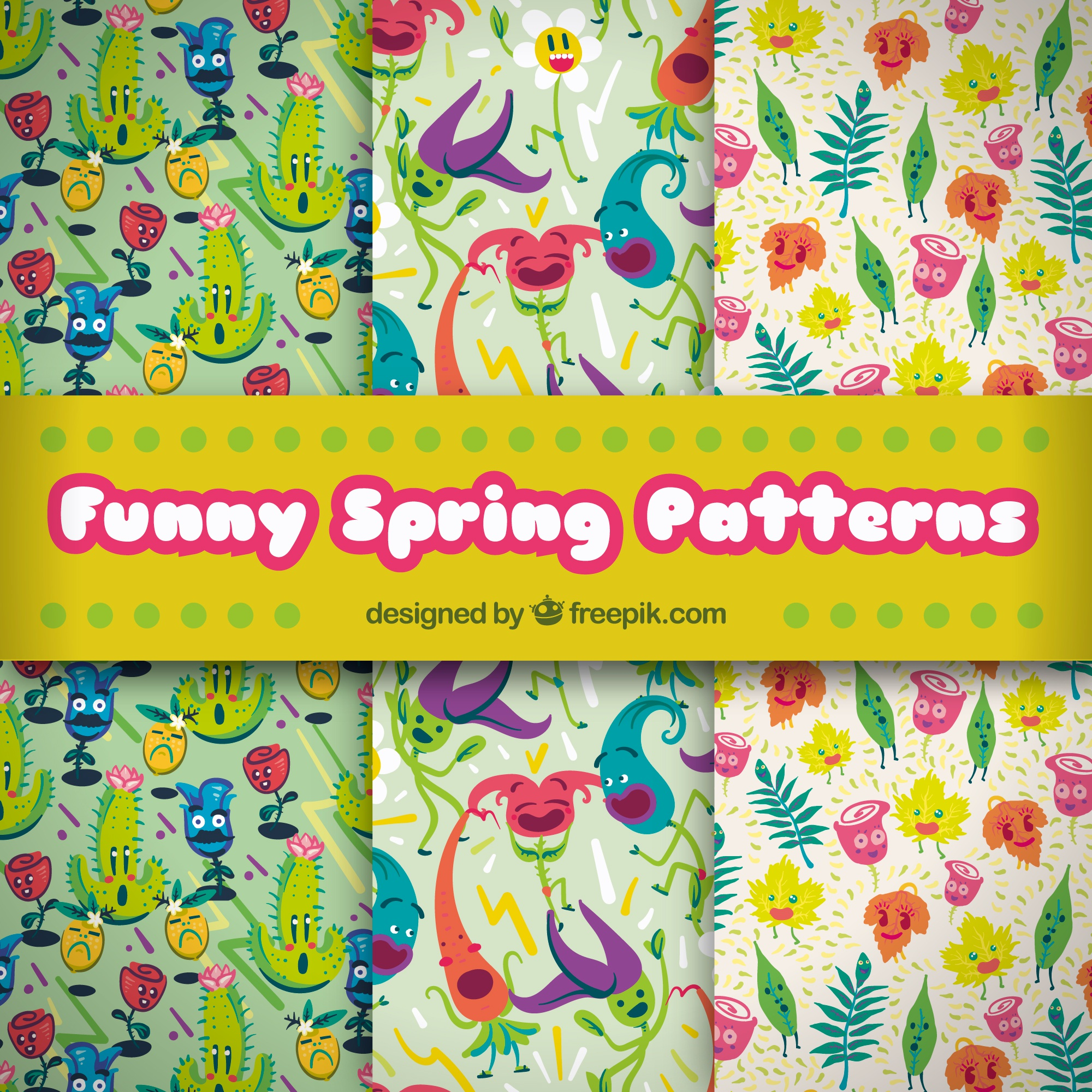 Great patterns with funny characters for spring