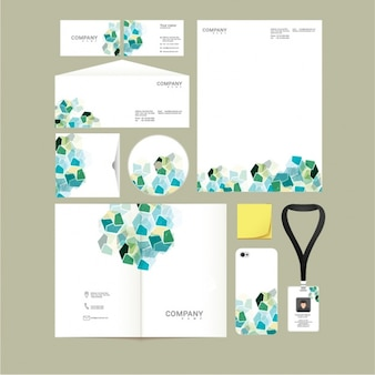 Great presentation of corporate stationery with geometric shapes