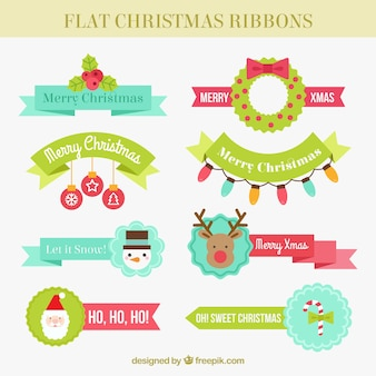 Great selection of christmas ribbons in flat style