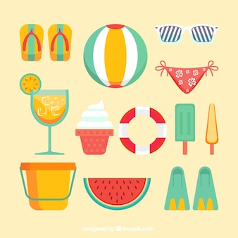 Great set of decorative summer elements