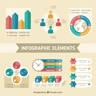 フラットデザインにおける情報要素の大きなセット